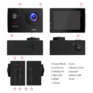 Victure Action Cam 12 MP Full HD Ansicht